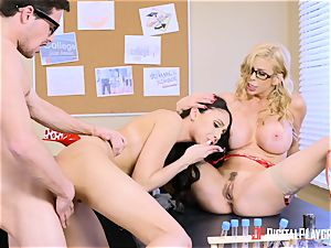 Alexis Fawx and Ariana Marie inhaling egghead dick