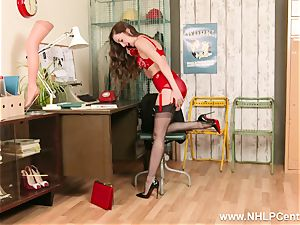 dark-haired on phone in retro underwear nylon high high-heeled shoes