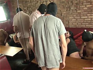 Michelle Thorne and young bi-atch gang-fuck poke with group