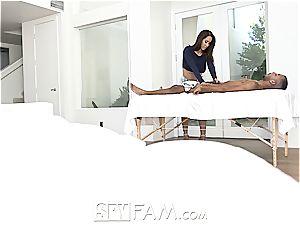 SpyFam huge-boobed step mom Isis enjoy caresses step sonny