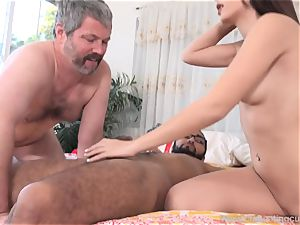 Audrey Royal and hubby love meaty dark-hued bone inwards Her