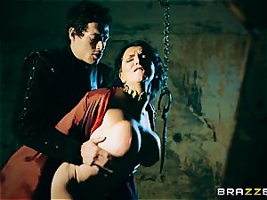 Jon pokes the crimson Priestess in the dungeon space
