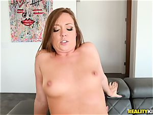 jizz guzzling pipe dickblower Maddy OReilly sits her poon on a fat dick