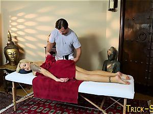 busty babe porks masseur