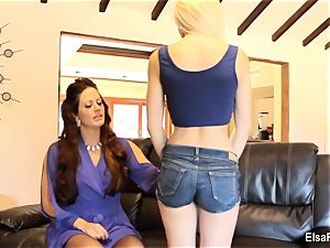 Elsa receives a lesson from her big-chested teacher Holly