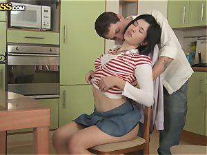 Russian school doll Netta Jade prefers stiff ass-fuck before check-ups