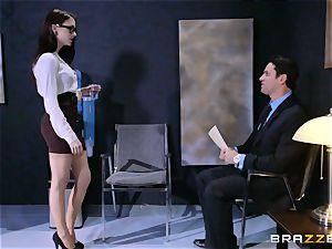 Anna De Ville pounds her job interviewee