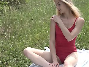 attractive girl On Meadow