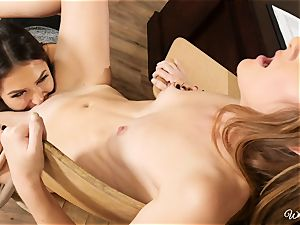 naughty tutor Melissa and student Miley scissoring lesbos on the desk
