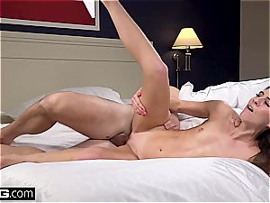 individual audition with tall and lean brunette