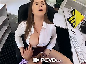 sexy assistant sucks and screws for a promotion