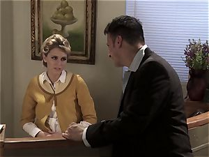 sexy receptionist Katie Summers pokes at work