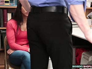 boy officer smashes Lilly Halls humid coochie in the office