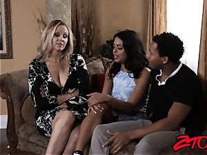 cougar Julia Ann shares ample bbc with Latina stunner
