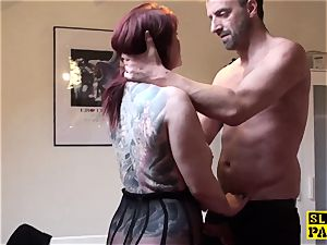 big-chested brit redhead dominated with roughsex