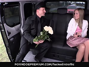 plowed IN TRAFFIC - jizz on arse for naughty slender ash-blonde