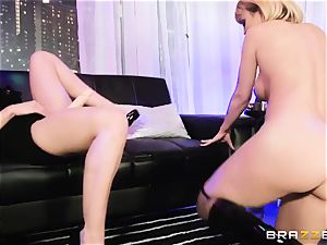 youthful buxomy stripper gets a test of strength by her boss Rachel Starr