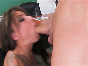 witness a gigantic lollipop fellow get his lollipop fellated by tattooed fuckslut Chayse Evans