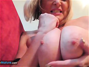 EuropeMaturE big-titted platinum-blonde Alisha Solo have fun