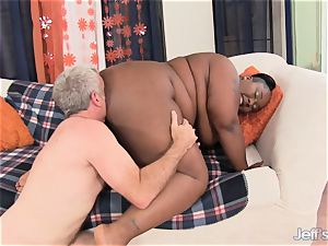 giant ebony dame takes fat jizz-shotgun