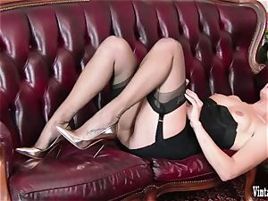 brown-haired bursting to spunk in antique corset nylons wank