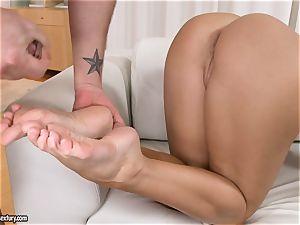 Aletta Ocean has her tastey toes dripped in dickmilk