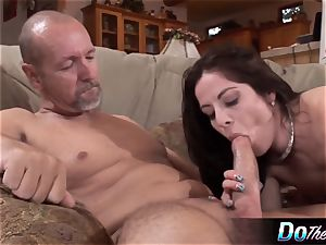 husband sees wifey take ample sausage