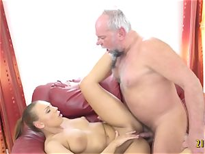 wonderful honey with humungous baps nailed by old stud