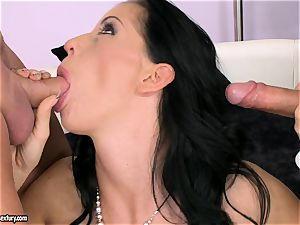 sausage starving fuckslut Larissa Dee is deep throating one pole at a time with sheer pleasure