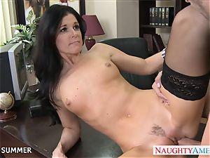 Stockinged India Summer banging on the desk