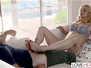 LoveHerFeet Caught milking Off By crazy Stepmom