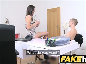 girl Agent slender agent likes being facialed in cum