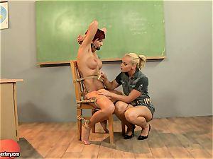 Kathia Nobili giving a horny lesson to a molten crimson head