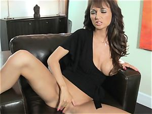 Roxanne Milana on ebony do sofa finger unloading