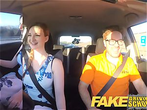 fake Driving college Nerdy red-haired teen college girl