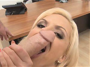 killer secretary Nina Elle inhales hard-on in the office