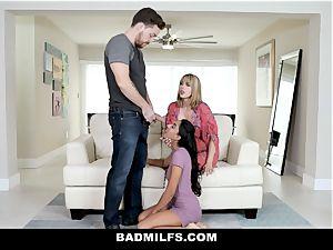 BadMILF - Jealous Stepmom threeway With Stepson And girlfriend