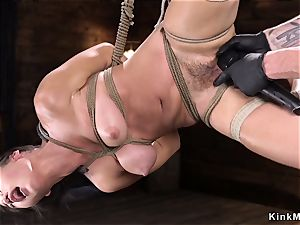 hairy asian fingerblasted in frog-tie suspension