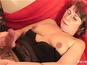 Punky pierced grandmother luvs to inhale and bang