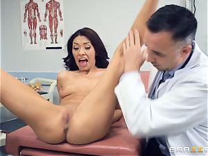 Kara faux medical labia check up