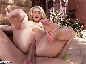 lewd chesty blonde Kagney Linn Karter gets torn up outdoor