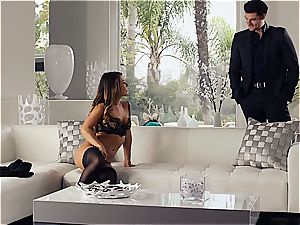 gorgeous Eva Lovia is instructing her boyfriend some manners before the soiree