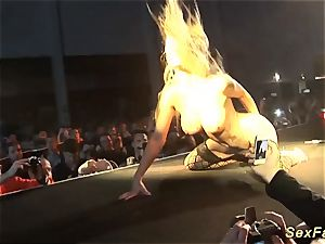 My big-boobed German stepmom nude on stage