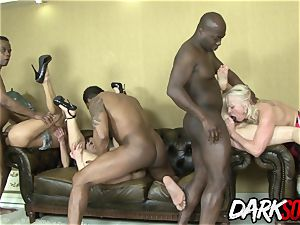 warm anal invasion fuckfest with 4 Mature tarts and 4 BBCs