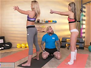 sport rooms kinky chicks seduce ginormous chisel gym trainer