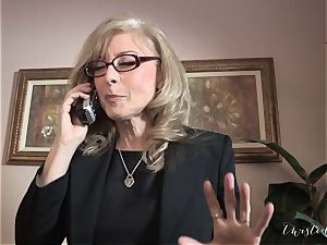Mature Nina Hartley office pulverize with James Deen
